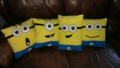 Fleece Minion pillows Cait & I made for her friends for Christmas. No pattern, we just winged it :-).