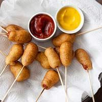 With the right ingredients I eat these! Mini Corn Dogs. 1C pancake mix, 1 egg and veg oil. Slide each dog lengthwise onto 6-inch wooden skewer. Combine pancake mix, egg and 1/2 cup water. Pour oil into large saucepan to 1 1/2-inch depth; heat to 350 degrees . Dip dogs in batter, then in oil until golden, 30 seconds.