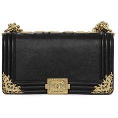Chanel Black Smooth Leather Medium BOY Bag with Brushed Goldtone... (7,130 CAD) ❤ liked on Polyvore featuring bags, handbags, chanel, chanel handbags, chanel purses, little black bag, purse and shoulder bags