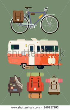 Vector modern flat design set on camping lifestyle, traveling, nature exploration, backpacking, recreational activity with caravan travel trailer, various equipped backpacks and touring bicycle - stock vector