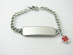 Stylish 6 Inch Medic Alert ID Bracelet  Hand by AnniesHours, $35.00
