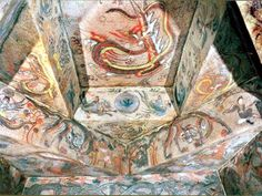Goguryeo Tomb Murals - Sun Crow with flying celestials - East ceiling, Ohoe Tomb #4, 6th - 7th century. Ji'an, China.   In this mural the sun, with its three-legged crow, is flanked by two celestials: one is riding a phoenix while playing a flute (right, bottom closeup), and the other is riding a dragon (left, bottom closeup). A twisting dragon occupies the top of the ceiling.