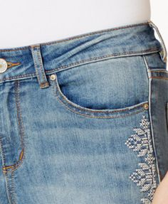 Vintage America Cropped Embroidered Skinny Jeans | macys.com