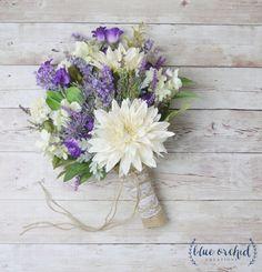 Rustic Wedding Bouquet Wildflower Bouquet Lavender Bouquet