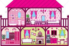 House for the Girl in a Cut in Pink.  #GraphicRiver         Vector illustration. It is created in the CorelDraw program. It is edited in the Adobe Illustrator program. It is kept in illustrator eps version 8. The file can be edited in any program of vector graphics. The size of the file can be increased till any size without quality loss. In this file there are no gradiyentny fillings and mesh. File full-color. The illustration