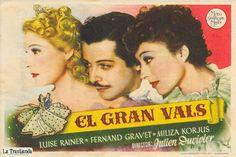 El Gran Vals - Programa de Mano - Luise Rainer - Fernand Gravey