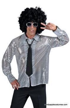 Adult Silver Stardust Sequin Disco Shirt - Candy Apple Costumes - Pimp & Ho Costumes