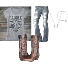 Silver Jeans, Ariat boots, Saddle up and ride burnout :) Riding Outfits, Cowgirl Outfits, Cowgirl Style, Western Outfits, Country Girl Look, Country Style, My Style, Dc Clothing, Cowgirl Clothing