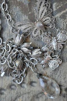 TROIS PAPILLONS Vintage Assemblage Necklace by HallowedAdornments
