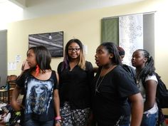 MyClymonds High School students Starletta Andrews and Astiee Carver and friends at Youth and Family Center.