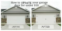 Garr Den of Love: Garage Door Makeover. Is ole and cheap garage door makeover and it makes the door look fab! Do It Yourself Furniture, Do It Yourself Home, Do It Yourself Garage, Carriage Style Garage Doors, Carriage Doors, Garage Door Makeover, Diy Garage, Garage Ideas, Small Garage