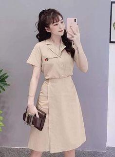 Jumpsuit Dress, Shirt Dress, Office Fashion, Elegant Dresses, Ulzzang, Korean Fashion, Fashion Dresses, Outfit, Skirts