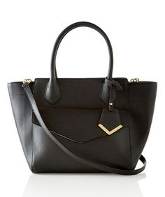 Loving this Black Trapezoid Tote on #zulily! #zulilyfinds