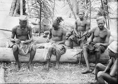 MEN WEAVING HATS. Locale: OKONDO'S VILLAGE, CONGO BELGE