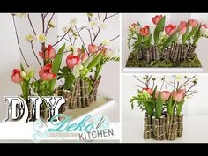 DIY: Make fancy flower decoration with wood yourself- DIY: Ausgefallene Blumendeko mit Holz selber machen Do it yourself: In this video I show you how to make a pretty floral decoration for the table with wood branches. Unusual Flowers, Diy Flowers, Spring Flowers, Flower Decorations, Deco Floral, Arte Floral, Flores Diy, Create Picture, Diy Garden Decor