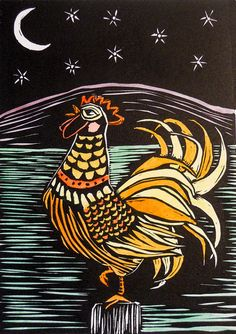 Howling Rooster  handcolored linocut by rebpeters on Etsy, $80.00
