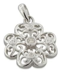 """Sterling Silver Fine CZ Flower Pendant with .925 Box Chain 18"""" + FREE Shipping!"""