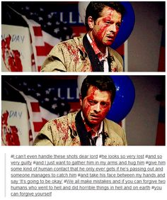 His expressions are heartbreaking...I'm not sure which I want to do more, hug Cas and make it all better or applaud Misha's acting until my hands fall off.