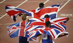 World Athletics Championships 2015: day nine – in pictures   Sport   Team Britain flies the flags after the men's 4x400m relay final