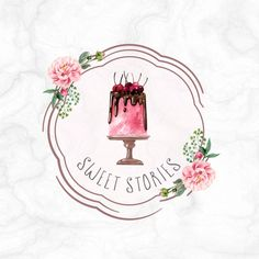 Handpainted Drip Cherry Cake on a Stand in Watercolor Style with Peony Floral Frame Pre-made Logo design Bakery Logo Design, Cake Logo, Cherry Cake, Sweet Stories, Cake Pictures, Logo Food, Logo Inspiration, Peonies, Art Drawings