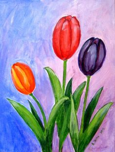 Original Acrylic Painting on Canvas Board - Tulips