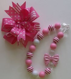 Bubblegum Necklace and Matching Hair Bow