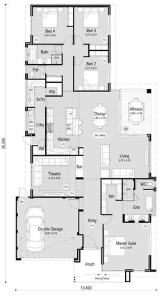 The Juniper - RedInk Homes-no study Best Picture For dream house boho For Your Taste New House Plans, Dream House Plans, House Floor Plans, Internal Door Frames, Plans Architecture, Brick Construction, Home Design Floor Plans, Floor Plan Layout, House Layouts