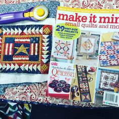 Find the pattern for this Patriotic Star mini quilt in Make it Mini Small Quilts and More- on newsstands now. Yes, I still need to trim and bind it😀 Pattern designer is Diane Hansen.#makeitminiquilts #foundationpaperpiecing