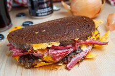 Closet Cooking: Corned Beef Grilled Cheese Sandwich with Guinness Caramelized Onions