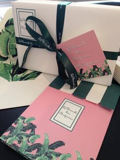 Invitations with Beverly Hills Hotel theme...