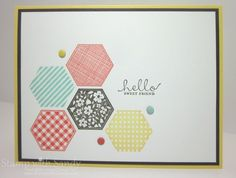 """handmade card ... clean and simple design ... grouping of stamped hexagons ... three enamel dots ... simple sentiment ... loving the """"hello"""" sentiments that are trendy now ... great card! ... Stampin' Up!"""
