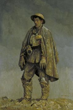 A British soldier standing against a background of thick grey clouds heavy with rain. He looks dejectedly down at the earth, his hands hanging loosely by his sides. He has an oilskin draped over his shoulders, a tin helmet on his head, and his gas mask hanging round his neck. He is covered with a layer of mud from head to toe; his hands as thickly encrusted as his boots, and his face the same pallid colour as the earth  Royal Army Medical Corps Commission