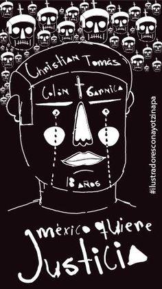 """""""Yo, Emilio Rodríguez, quiero saber dónde está Christian Tomás Colón Garnica."""" #IlustradoresConAyotzinapa"""