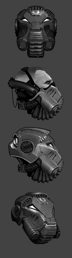 Warhammer 40k - Terminator Helm by Ted Beargeon via Behance http://dizy.be/2607f1, a spectacular #character-design of a human male and concept art #illustration of a cyborg suit in #grey #monochrome