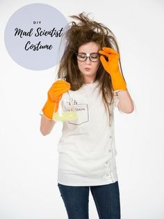 Easy Diy Mad Scientist Costume - Diy Mad Scientist Costume White T Shirt Rubber Gloves Crazy 15 Easy T Shirt Costumes For Halloween Mad Scientist Costume 16 Too Cute Super Creative Di. Mad Scientist Halloween Costume, Halloween Costumes You Can Make, Teacher Halloween Costumes, Halloween Science, Girl Halloween, Homemade Halloween, Halloween 2020, Halloween Ideas, Halloween Party