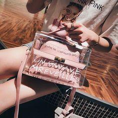 Pink New Women Tote Bags Shoulder Bag Clear Transparent Jelly Candy Summer Beach Handbag Woman Messenger Handbags Bolsa Clear Handbags, New Handbags, Handbags On Sale, Cross Body Handbags, Stroller Fan, Color Caramelo, Big Tote Bags, Transparent Bag, Cute Bags