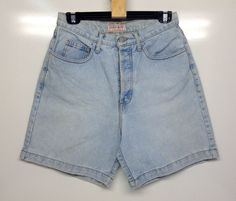 Vintage 1990's Guess Womens Light Blue Denim Shorts. Great for the coming summer.  Size: W = 31 inches (80cm) Equates to Australian size 14 (see photographs for chart). Inside Leg = 6 inches (15cm). Rise = 12 inches (30cm). Outside Leg measured from top of waistband to end of leg = 18 inches (46cm). Vintage Clothing, Vintage Outfits, 6 Inches, Blue Denim, Size 14, Light Blue, Denim Shorts, Photographs, Chart