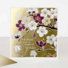 This distinct branch of beautiful blooming florals has subtle gold embossing of hope you have a lovely birthday, which lifts the card giving it a superb finish. This greeting card also comes with a luxurious gold envelope.