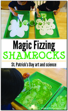 Magic fizzing shamrocks are a fun science project for St Patricks Day. For more St Paddy's Day inspired crafts, games, food ideas, activities and decorations kids can make, please visit our MDH Toys St Patricks Day Kids Activities board Saint Patricks Day Art, St Patricks Day Crafts For Kids, St. Patricks Day, March Crafts, St Patrick's Day Crafts, Holiday Crafts, Toddler Crafts, Preschool Activities, Children Crafts