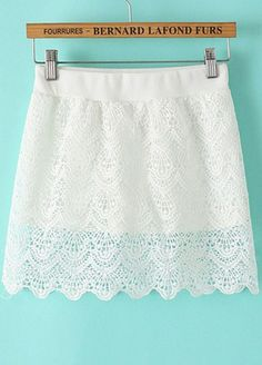White Hollow Lace Scalloped Skirt - abaday.com