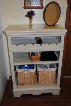 Upcycled dresser into kitchen wine rack & shelves.