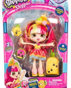 Shopkins Shoppies Donatina Visits Brazil Doll World Vacation Shoppies Dolls, Shopkins And Shoppies, Shopkins World Vacation Shoppies, Toys For Girls, Kids Toys, Shopkins Game, Visit Brazil, Monster High Birthday, 6th Birthday Parties