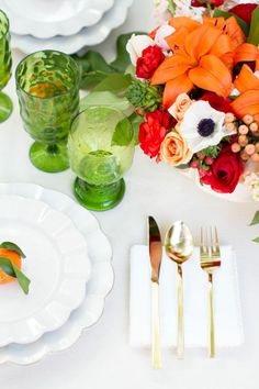 Bright table decor, red, orange, green against white
