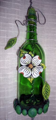 Wind-chime Windchime green wine bottle dogwood design