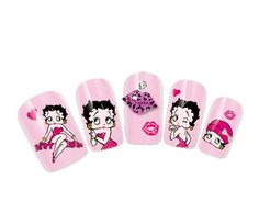 COME 2 BUY - Nail Art Tatoo/Wrap Water Transfer Decals Betty Boop Lips/Kiss/Hearts/Logo