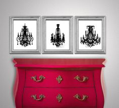 French Shabby Art - Set of 3 Prints - Vintage Victorian Chandeliers - Bedroom Boudoir Art prints - Gift for her - print Bedroom Red, Bedroom Decor, Bedroom Ideas, Bedroom Stuff, Master Bedroom, Peacock Decor, Peacock Print, Painted Furniture, Diy Furniture