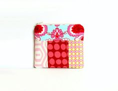 Scrappy Zipper Pouch, Patchwork, Coin Purse, Change Pouch, Women's Wallet, Amy Butler