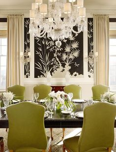GIL SCHAFER AND MILES REDD ~  dining room, green, kiwi,  chandelier, black and white, wall mural