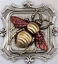 """Sterling Overlay On Stamped Brass """"BRONZE LEAF BUMBLE BEE """" Picture Button~2"""""""