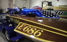"""Phil Kunz found his favorite hydroplane, """"Helter Skelter"""" two years ago in a barn in Michigan and has now restored it to it's 1969 look."""